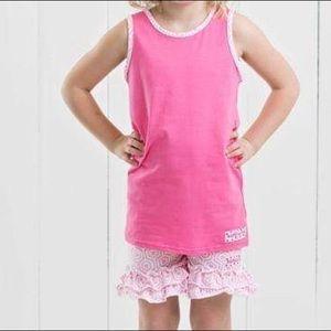 Ruffle Girl Matching Sets - Ruffle Girl Pink Tank & Honeycomb Short Set